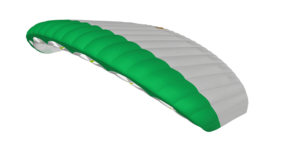 icarus canopies by nz aerosports green and white Leia canopy 3D viewer