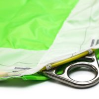 closeup of ring on green icarus canopies by nz aerosports RDS removable deployment system
