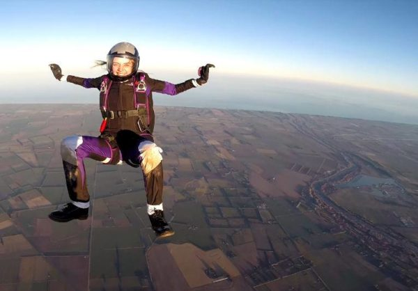 Luci sitflying above Skydiving Kiwis