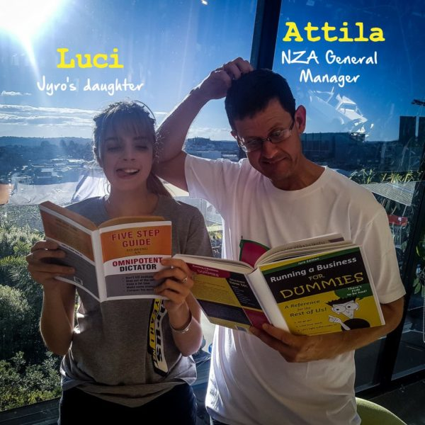 "Luci and Attila reading ""Running a Business for Dummies"""