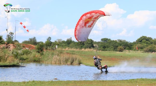 Max Manow and his Icarus Petra on the pond at Skydive Pretoria