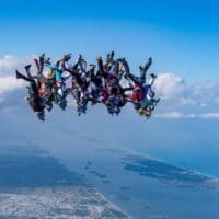 Skydivers flying head down photo edited by Ewan Cowie on Sharing Perspectives Icarus Canopies blog