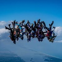 Skydivers flying head down photo edited by Chris Stewart on Sharing Perspectives Icarus Canopies blog