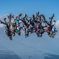 Skydivers flying head down photo edited by Steve Fitch on Sharing Perspectives Icarus Canopies blog
