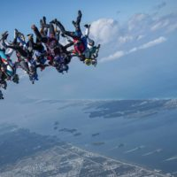 Skydivers flying head down photo edited by Kian Bullock on Sharing Perspectives Icarus Canopies blog