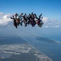 Skydivers flying head down photo edited by Tim Parrant on Sharing Perspectives Icarus Canopies blog